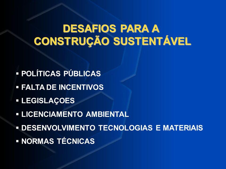 DESAFIOS PARA A CONSTRUÇÃO SUSTENTÁVEL POLÍTICAS PÚBLICAS FALTA DE INCENTIVOS LEGISLAÇOES LICENCIAMENTO AMBIENTAL DESENVOLVIMENTO TECNOLOGIAS E MATERI