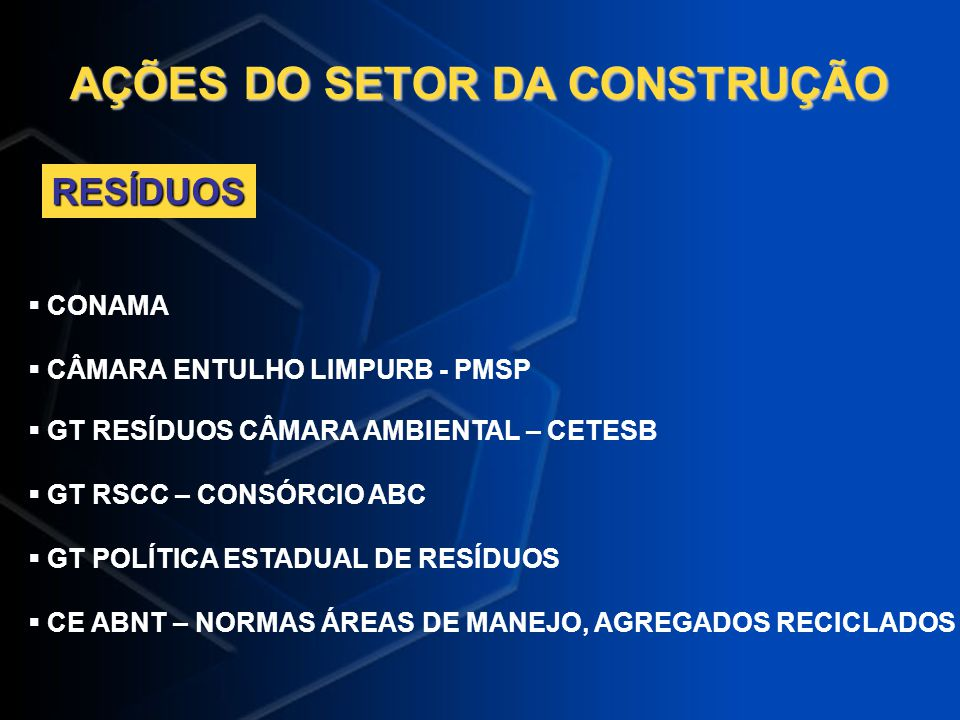 AÇÕES DO SETOR DA CONSTRUÇÃO CONAMA CÂMARA ENTULHO LIMPURB - PMSP GT RESÍDUOS CÂMARA AMBIENTAL – CETESB GT RSCC – CONSÓRCIO ABC GT POLÍTICA ESTADUAL D