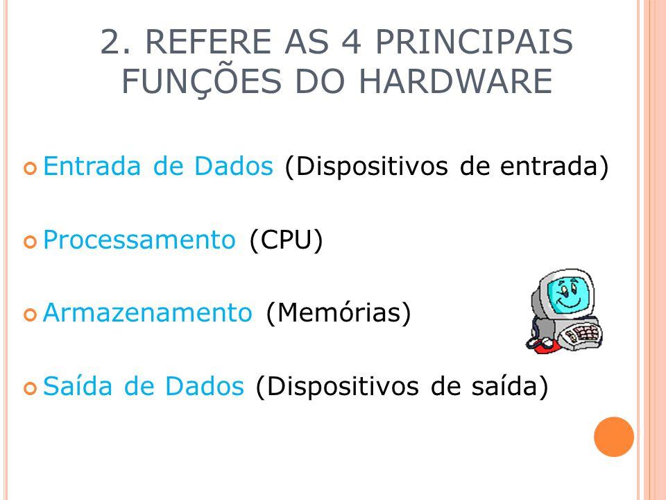 2. REFERE AS 4 PRINCIPAIS FUNÇÕES DO HARDWARE Entrada de Dados (Dispositivos de entrada) Processamento (CPU) Armazenamento (Memórias) Saída de Dados (