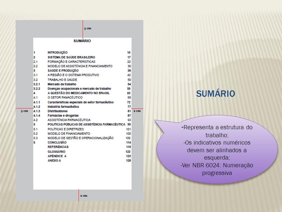 SUMÁRIO - Representa a estrutura do trabalho; -Os indicativos numéricos devem ser alinhados a esquerda; -Ver NBR 6024: Numeração progressiva - Represe