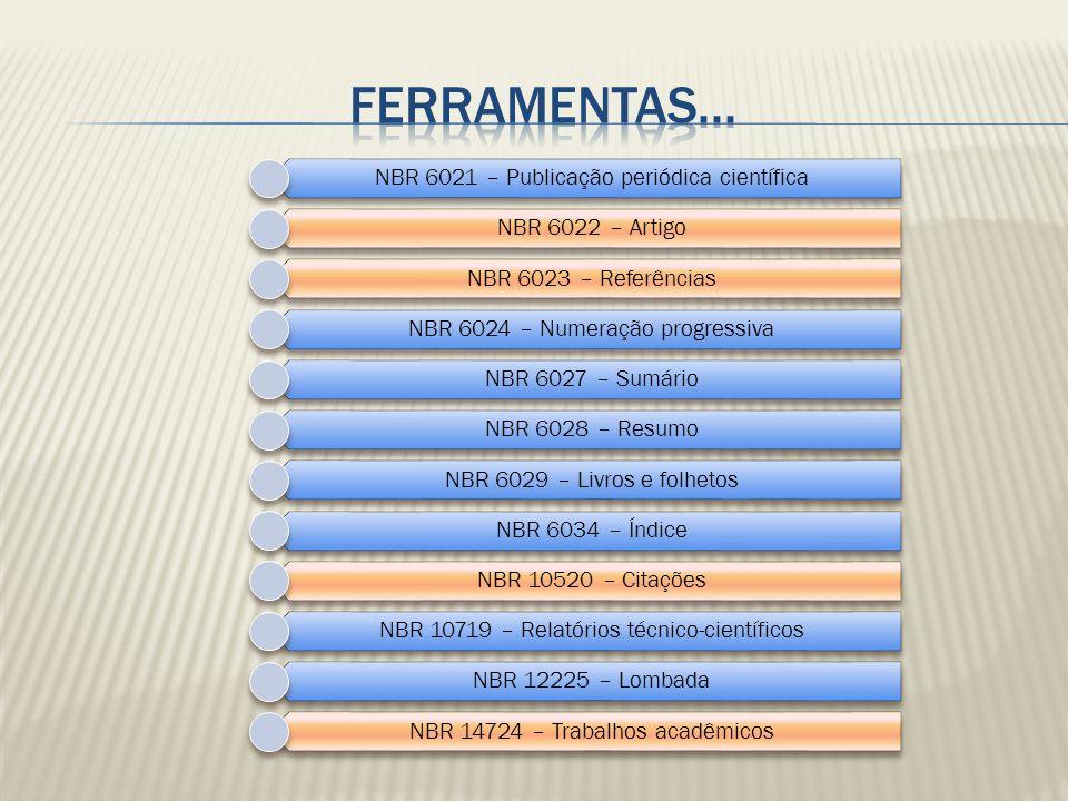 NBR 6021 – Publicação periódica científica NBR 6022 – Artigo NBR 6023 – Referências NBR 6024 – Numeração progressiva NBR 6027 – Sumário NBR 6028 – Res
