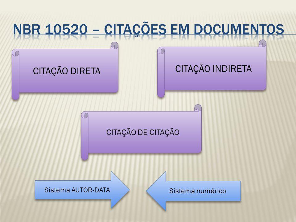 CITAÇÃO DIRETA CITAÇÃO INDIRETA CITAÇÃO DE CITAÇÃO Sistema AUTOR-DATA Sistema AUTOR-DATA Sistema numérico Sistema numérico