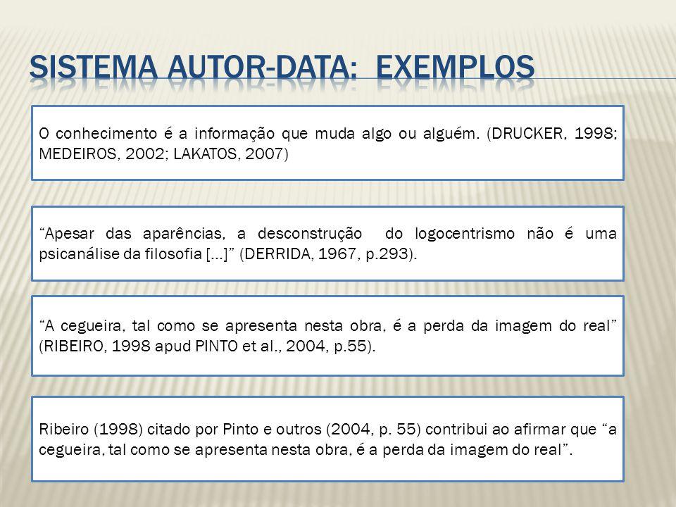 O conhecimento é a informação que muda algo ou alguém. (DRUCKER, 1998; MEDEIROS, 2002; LAKATOS, 2007) Apesar das aparências, a desconstrução do logoce