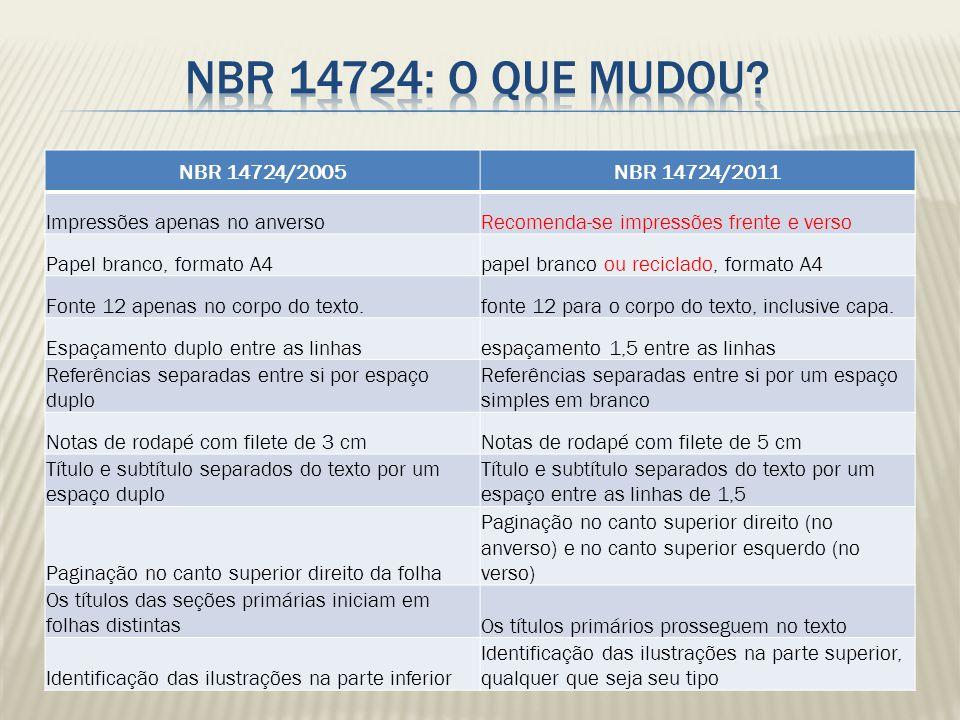 NBR 14724/2005NBR 14724/2011 Impressões apenas no anversoRecomenda-se impressões frente e verso Papel branco, formato A4papel branco ou reciclado, for