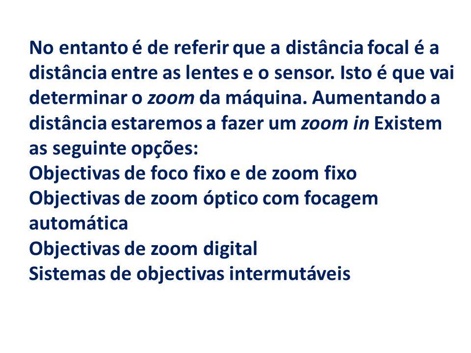 No entanto é de referir que a distância focal é a distância entre as lentes e o sensor. Isto é que vai determinar o zoom da máquina. Aumentando a dist