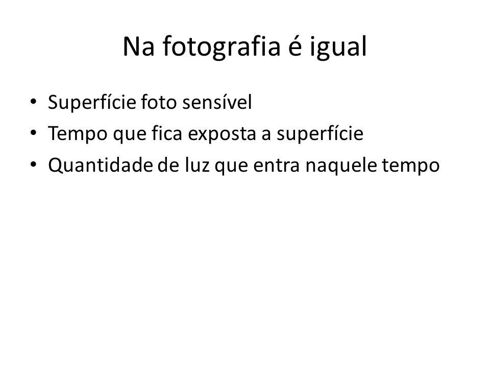 Na fotografia é igual Superfície foto sensível Tempo que fica exposta a superfície Quantidade de luz que entra naquele tempo