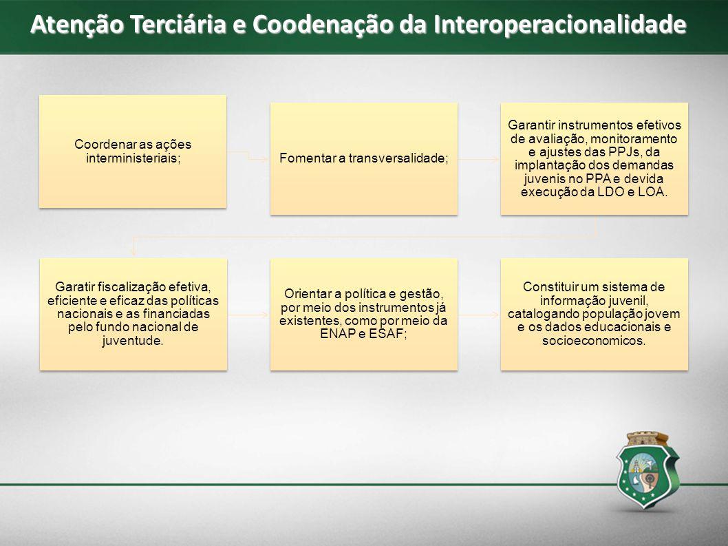 Atenção Terciária e Coodenação da Interoperacionalidade Coordenar as ações interministeriais; Fomentar a transversalidade; Garantir instrumentos efeti