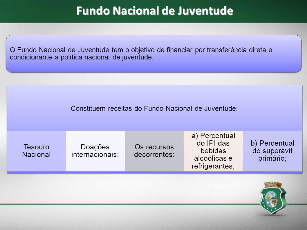 Fundo Nacional de Juventude O Fundo Nacional de Juventude tem o objetivo de financiar por transferência direta e condicionante a política nacional de