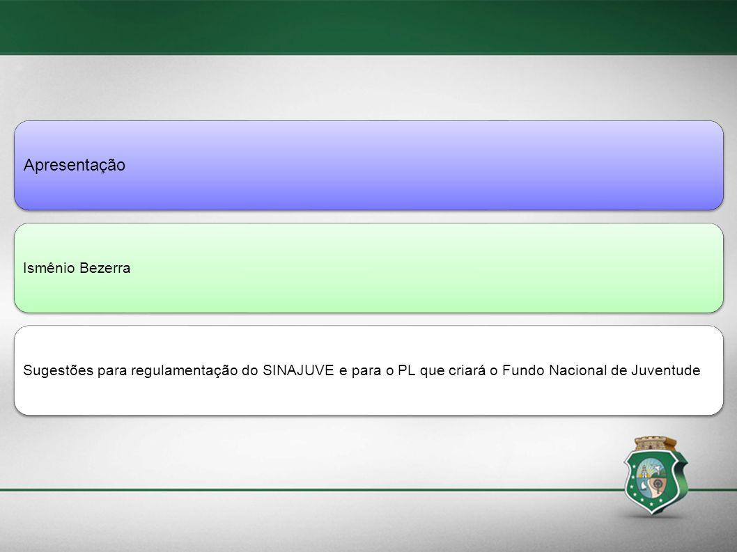 Apresentação Ismênio BezerraSugestões para regulamentação do SINAJUVE e para o PL que criará o Fundo Nacional de Juventude