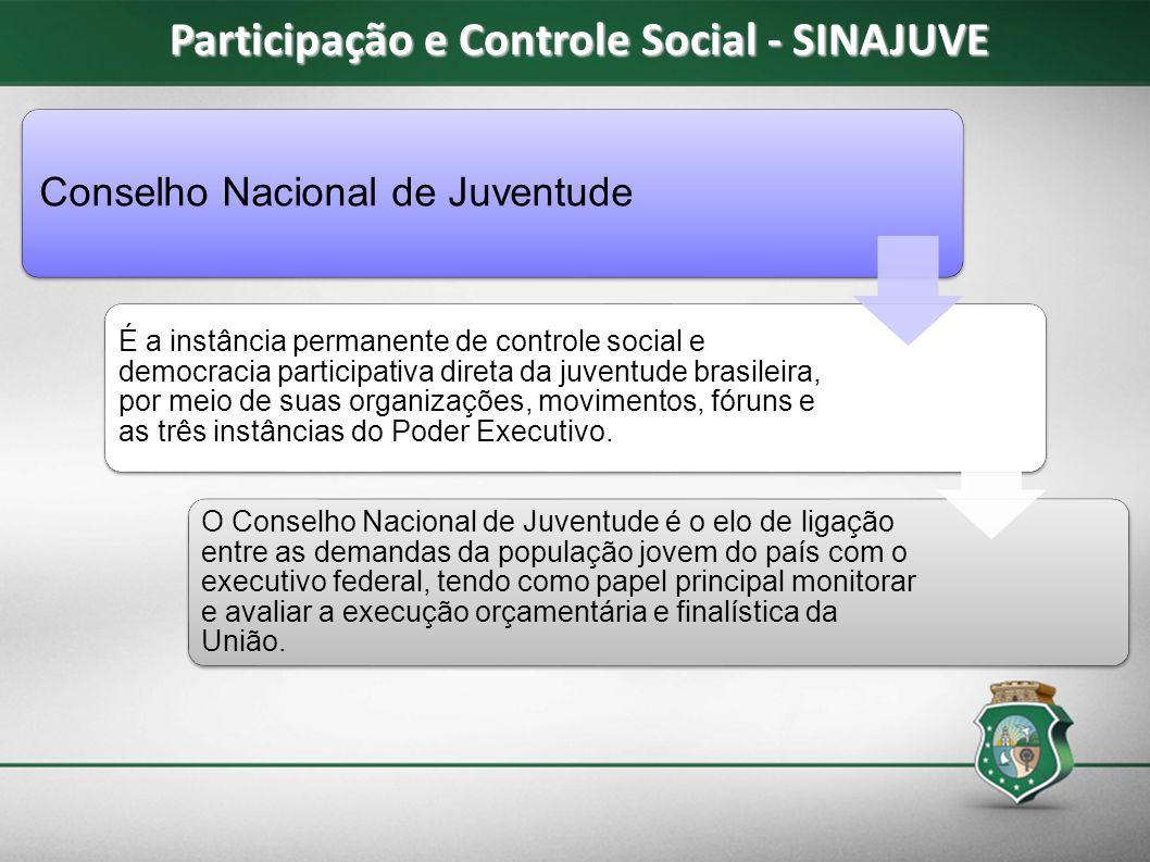 Conselho Nacional de Juventude É a instância permanente de controle social e democracia participativa direta da juventude brasileira, por meio de suas