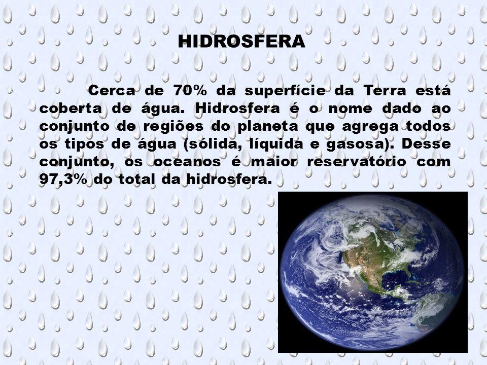 Cerca de 70% da superfície da Terra está coberta de água. Hidrosfera é o nome dado ao conjunto de regiões do planeta que agrega todos os tipos de água