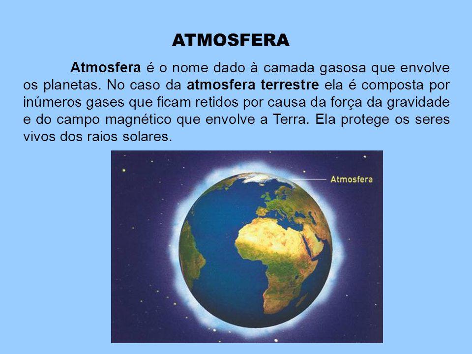 ATMOSFERA Atmosfera é o nome dado à camada gasosa que envolve os planetas. No caso da atmosfera terrestre ela é composta por inúmeros gases que ficam