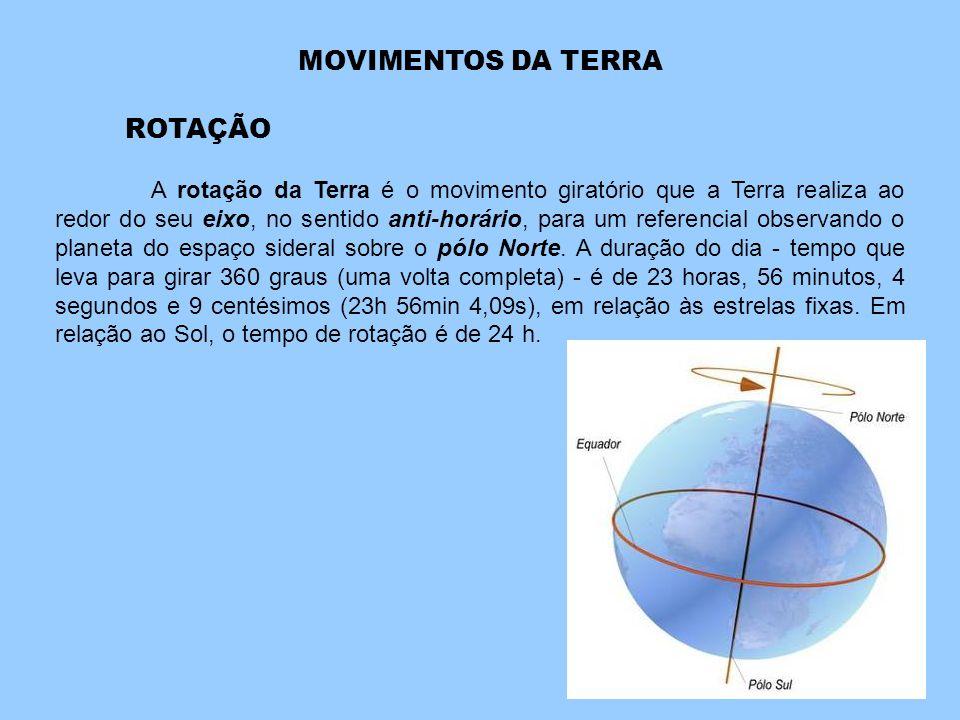MOVIMENTOS DA TERRA ROTAÇÃO A rotação da Terra é o movimento giratório que a Terra realiza ao redor do seu eixo, no sentido anti-horário, para um refe