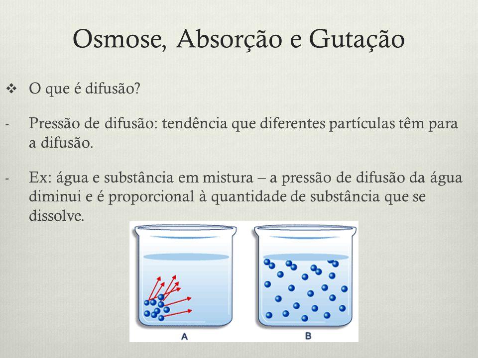 Osmose, Absorção e Gutação O que é difusão? - Pressão de difusão: tendência que diferentes partículas têm para a difusão. - Ex: água e substância em m