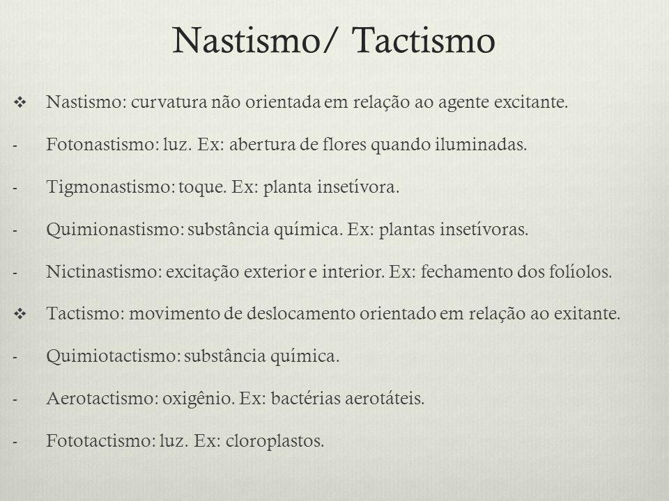 Nastismo/ Tactismo Nastismo: curvatura não orientada em relação ao agente excitante. - Fotonastismo: luz. Ex: abertura de flores quando iluminadas. -