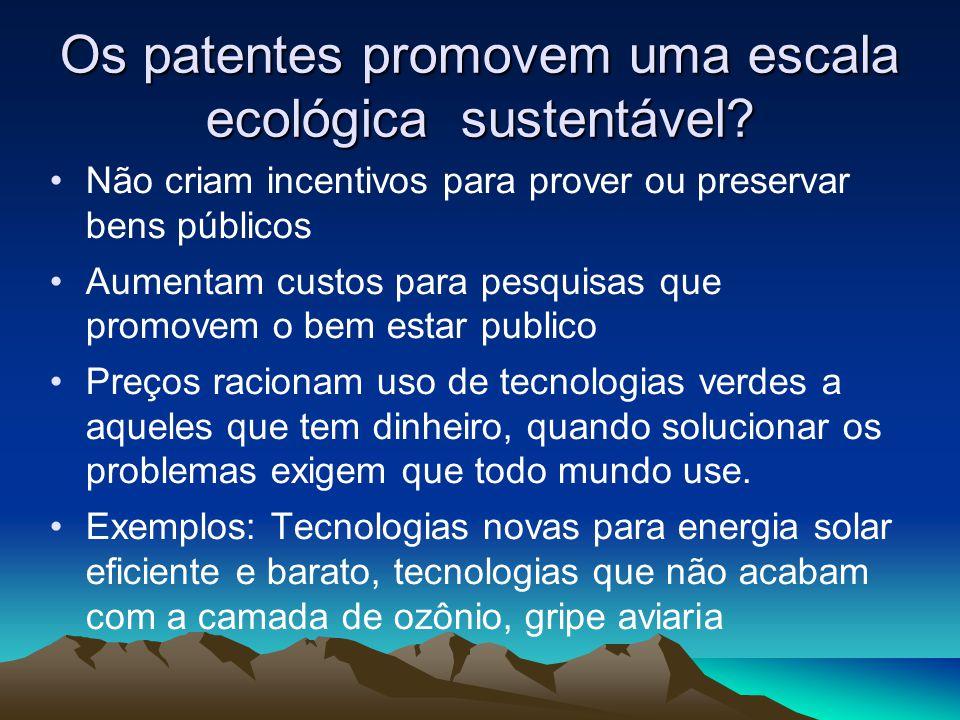 Os patentes promovem uma escala ecológica sustentável? Não criam incentivos para prover ou preservar bens públicos Aumentam custos para pesquisas que