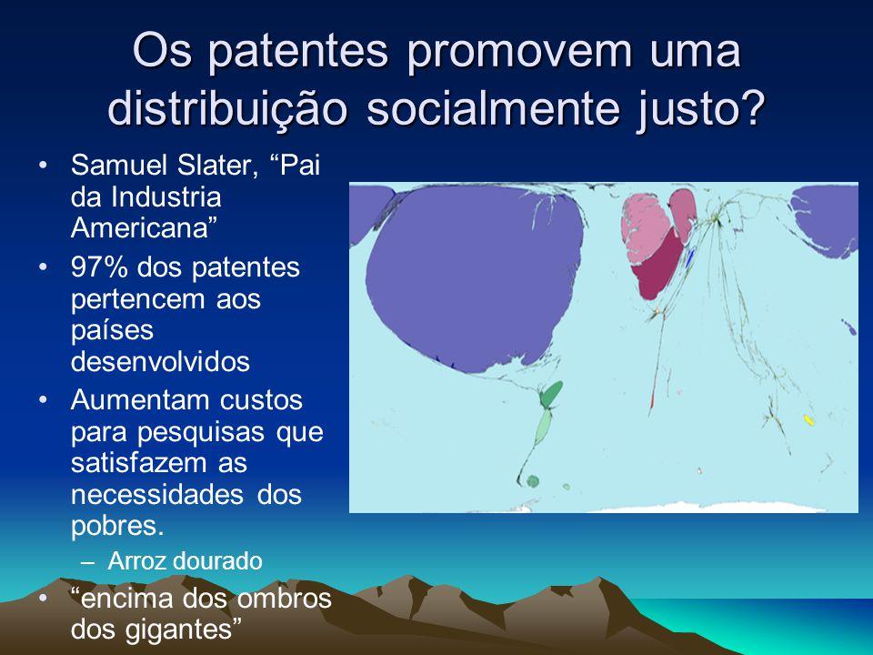 Os patentes promovem uma distribuição socialmente justo? Samuel Slater, Pai da Industria Americana 97% dos patentes pertencem aos países desenvolvidos