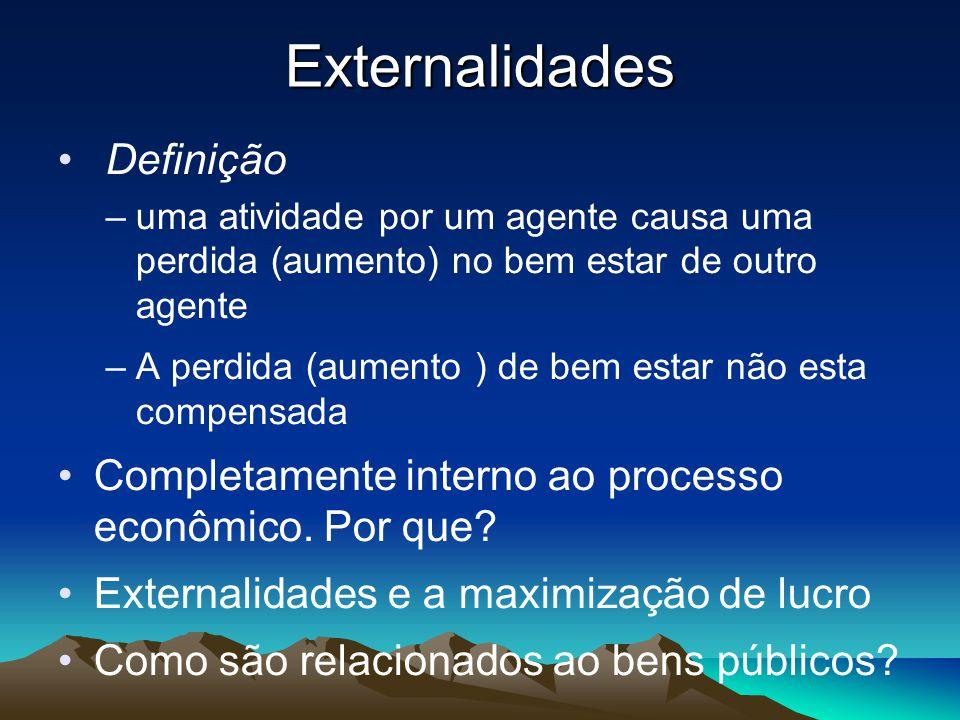 Externalidades Definição –uma atividade por um agente causa uma perdida (aumento) no bem estar de outro agente –A perdida (aumento ) de bem estar não