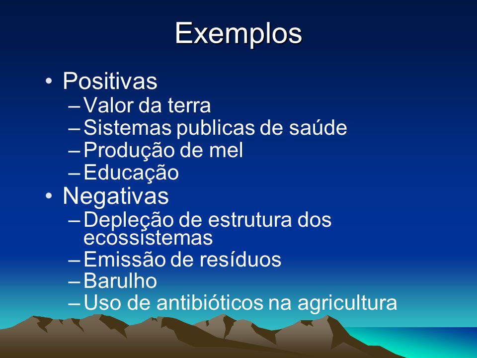 Exemplos Positivas –Valor da terra –Sistemas publicas de saúde –Produção de mel –Educação Negativas –Depleção de estrutura dos ecossistemas –Emissão d