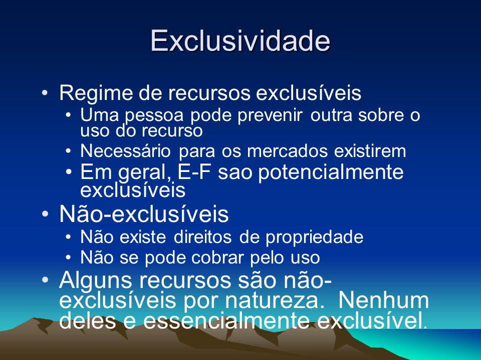 Exclusividade Regime de recursos exclusíveis Uma pessoa pode prevenir outra sobre o uso do recurso Necessário para os mercados existirem Em geral, E-F