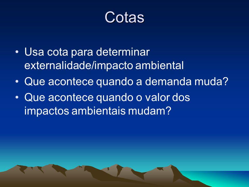 Cotas Usa cota para determinar externalidade/impacto ambiental Que acontece quando a demanda muda? Que acontece quando o valor dos impactos ambientais
