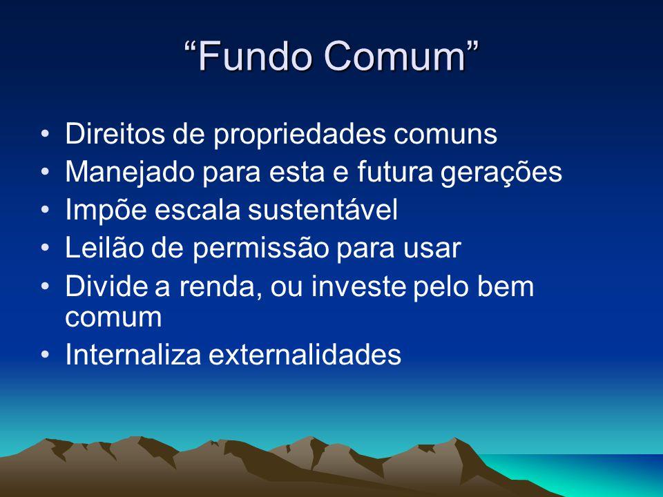 Fundo Comum Direitos de propriedades comuns Manejado para esta e futura gerações Impõe escala sustentável Leilão de permissão para usar Divide a renda