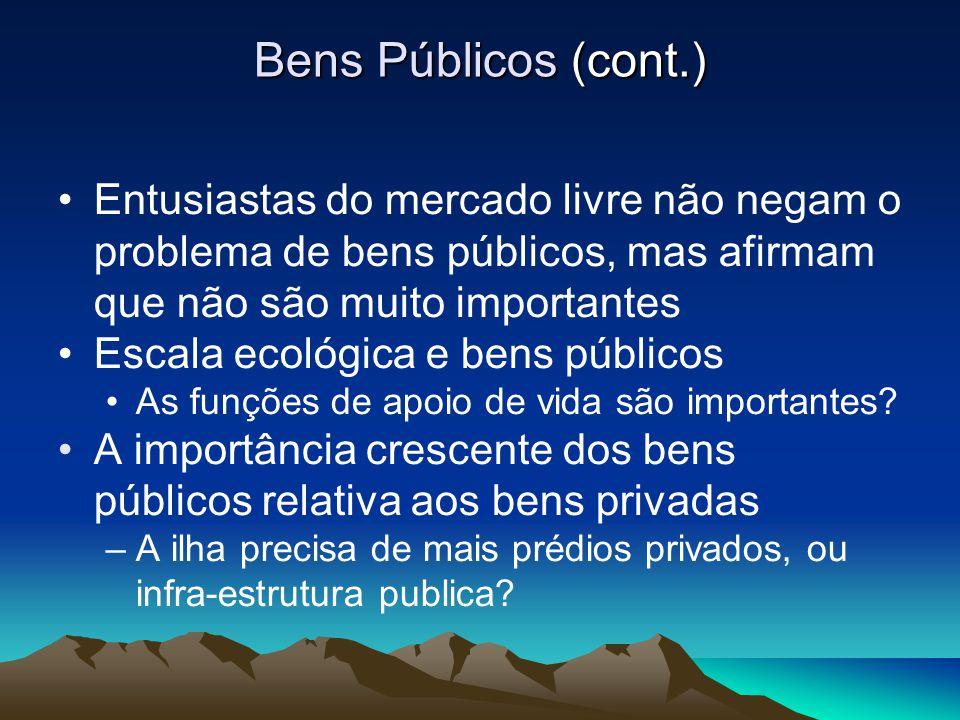 Bens Públicos (cont.) Entusiastas do mercado livre não negam o problema de bens públicos, mas afirmam que não são muito importantes Escala ecológica e
