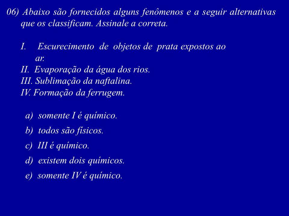 06) Abaixo são fornecidos alguns fenômenos e a seguir alternativas que os classificam. Assinale a correta. I. Escurecimento de objetos de prata expost