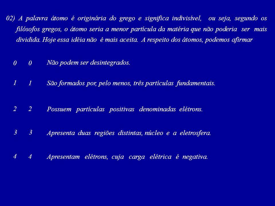 03)(Covest – 2004) Ao longo da história da ciência, diversos modelos atômicos foram propostos até chegarmos ao modelo atual.