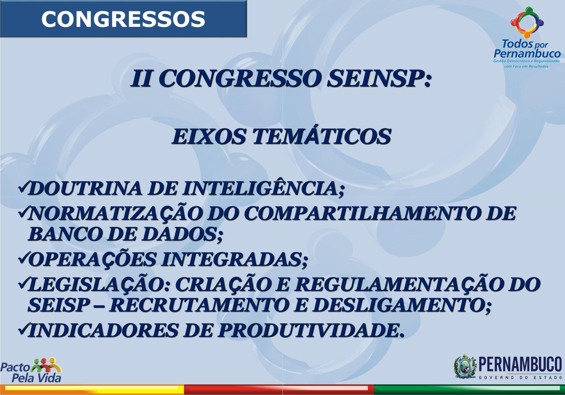 II CONGRESSO SEINSP: EIXOS TEM Á TICOS DOUTRINA DE INTELIGÊNCIA; DOUTRINA DE INTELIGÊNCIA; NORMATIZA Ç ÃO DO COMPARTILHAMENTO DE BANCO DE DADOS; NORMA