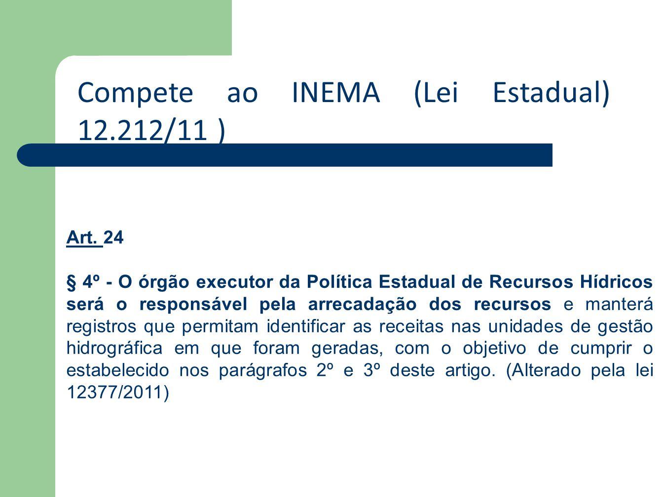 Compete ao INEMA (Lei Estadual) 12.212/11 ) Art. Art. 24 § 4º - O órgão executor da Política Estadual de Recursos Hídricos será o responsável pela arr