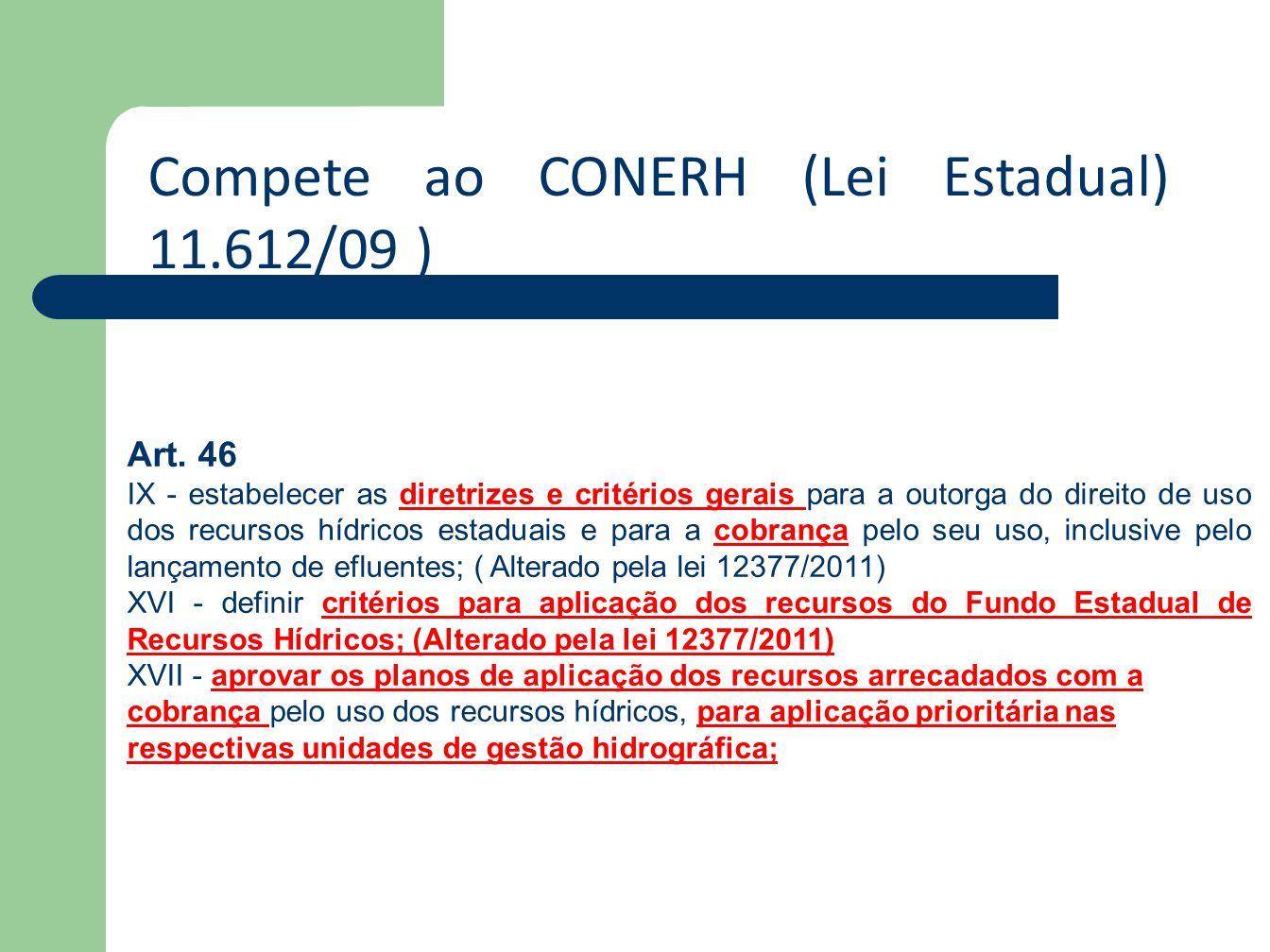 Compete ao CONERH (Lei Estadual) 11.612/09 ) Art. 46 IX - estabelecer as diretrizes e critérios gerais para a outorga do direito de uso dos recursos h
