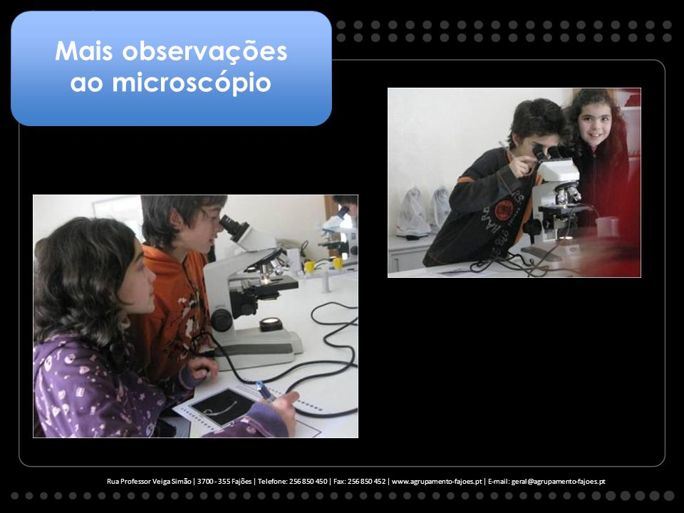 Rua Professor Veiga Simão | 3700 - 355 Fajões | Telefone: 256 850 450 | Fax: 256 850 452 | www.agrupamento-fajoes.pt | E-mail: geral@agrupamento-fajoes.pt Mais observações ao microscópio
