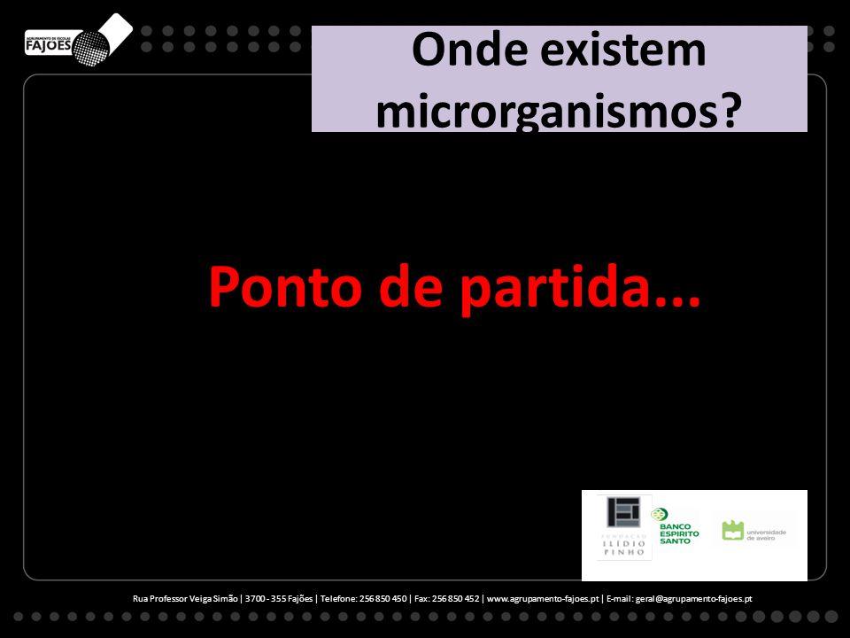 Onde existem microrganismos? Ponto de partida... Rua Professor Veiga Simão | 3700 - 355 Fajões | Telefone: 256 850 450 | Fax: 256 850 452 | www.agrupa