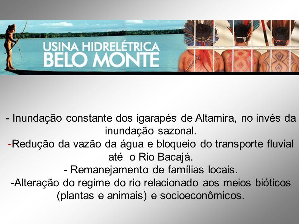 - Inundação constante dos igarapés de Altamira, no invés da inundação sazonal.