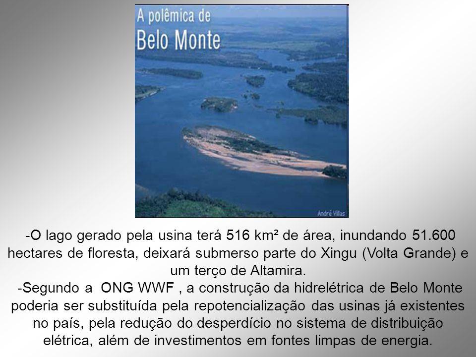 -O lago gerado pela usina terá 516 km² de área, inundando 51.600 hectares de floresta, deixará submerso parte do Xingu (Volta Grande) e um terço de Altamira.