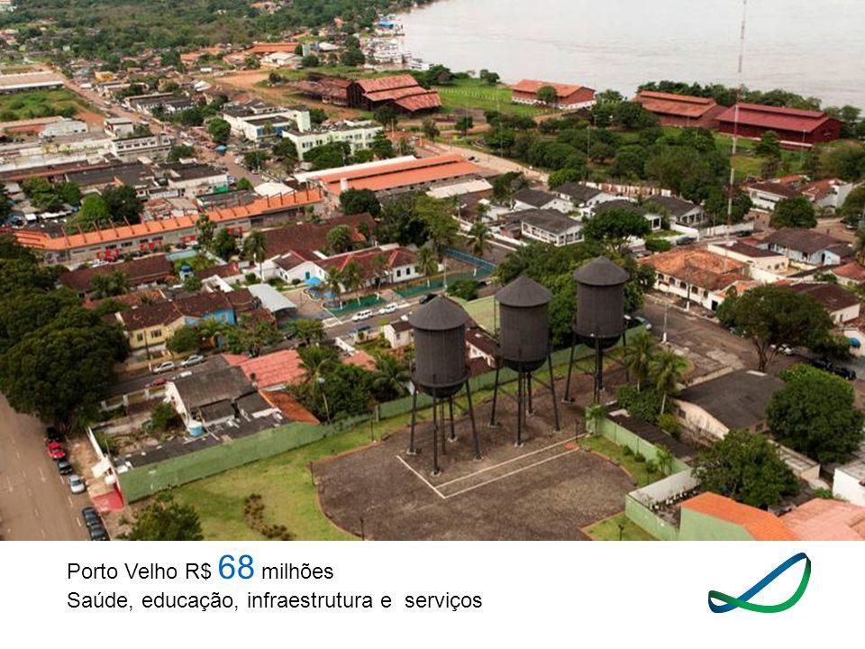 Porto Velho R$ 68 milhões Saúde, educação, infraestrutura e serviços