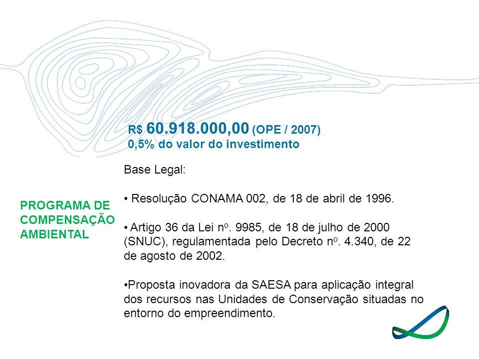 PROGRAMA DE COMPENSAÇÃO AMBIENTAL R$ 60.918.000,00 (OPE / 2007) 0,5% do valor do investimento Base Legal: Resolução CONAMA 002, de 18 de abril de 1996