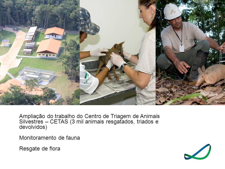 Ampliação do trabalho do Centro de Triagem de Animais Silvestres – CETAS (3 mil animais resgatados, triados e devolvidos) Monitoramento de fauna Resga