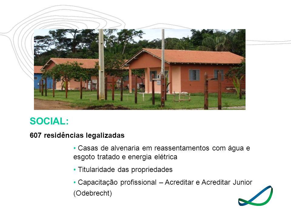 SOCIAL: 607 residências legalizadas Casas de alvenaria em reassentamentos com água e esgoto tratado e energia elétrica Titularidade das propriedades C