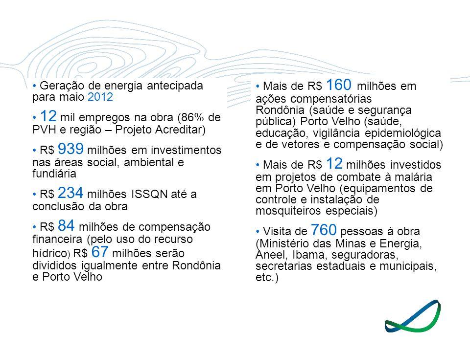 Geração de energia antecipada para maio 2012 12 mil empregos na obra (86% de PVH e região – Projeto Acreditar) R$ 939 milhões em investimentos nas áre