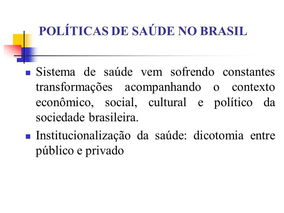 Sistema de saúde vem sofrendo constantes transformações acompanhando o contexto econômico, social, cultural e político da sociedade brasileira. Instit