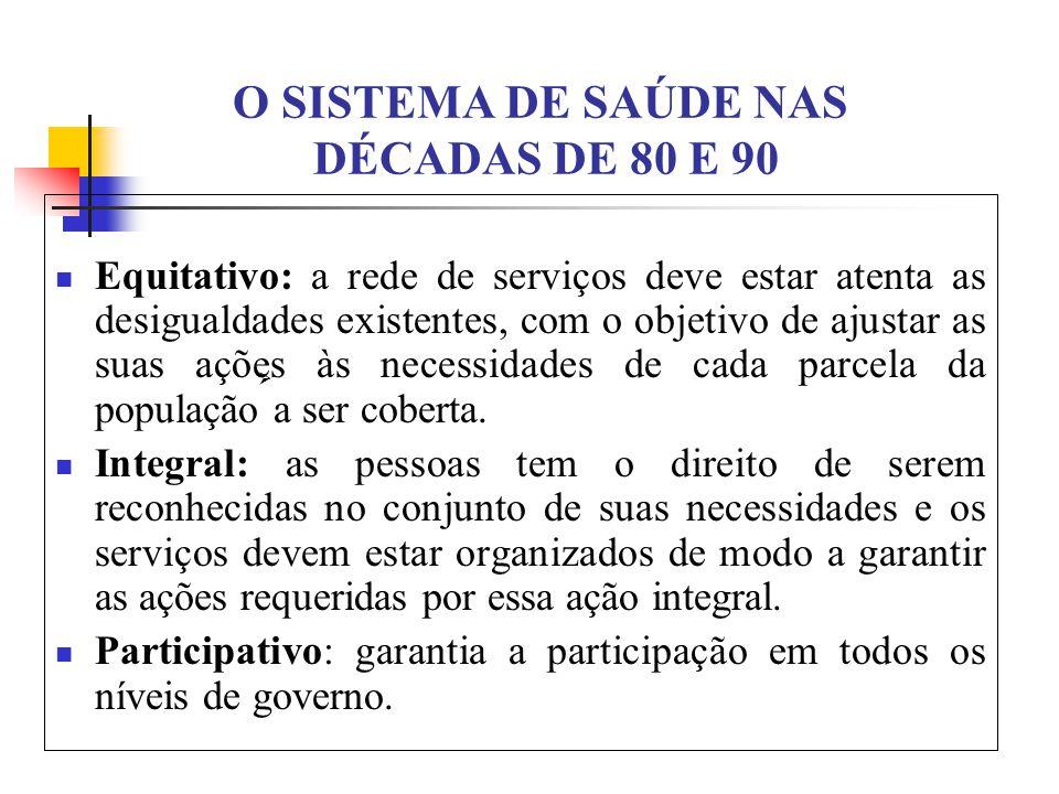 O SISTEMA DE SAÚDE NAS DÉCADAS DE 80 E 90 Equitativo: a rede de serviços deve estar atenta as desigualdades existentes, com o objetivo de ajustar as suas ações às necessidades de cada parcela da população a ser coberta.