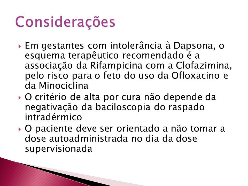 Em gestantes com intolerância à Dapsona, o esquema terapêutico recomendado é a associação da Rifampicina com a Clofazimina, pelo risco para o feto do