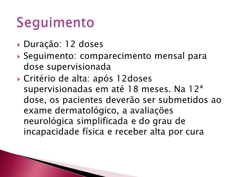 Administração mensal supervisionada: 24 doses em até 36 meses Rifampicina (RFM): 300 mg Ofloxacino(OFX): 400 mg Minociclina (MNC): 100 mg