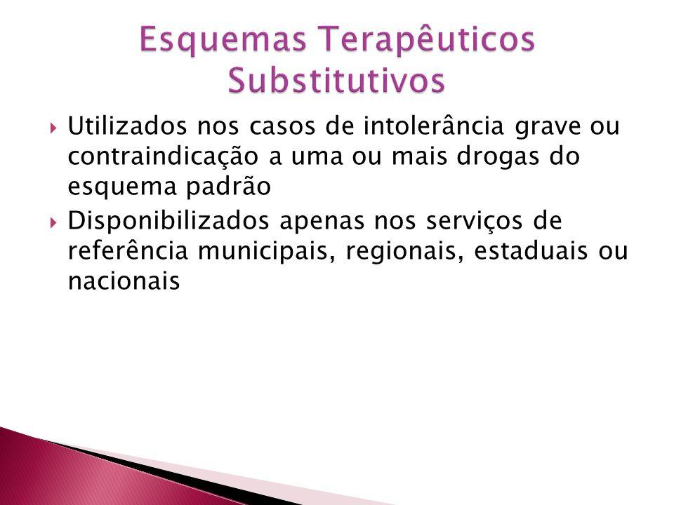 Utilizados nos casos de intolerância grave ou contraindicação a uma ou mais drogas do esquema padrão Disponibilizados apenas nos serviços de referênci
