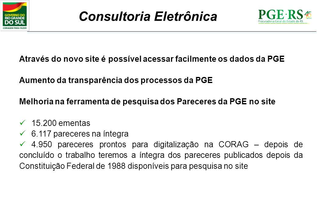Consultoria Eletrônica Através do novo site é possível acessar facilmente os dados da PGE Aumento da transparência dos processos da PGE Melhoria na fe