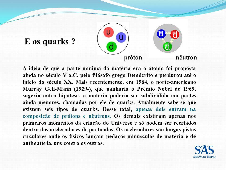 E os quarks ? A ideia de que a parte mínima da matéria era o átomo foi proposta ainda no século V a.C. pelo filósofo grego Demócrito e perdurou até o