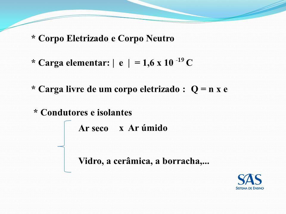 * Corpo Eletrizado e Corpo Neutro * Carga livre de um corpo eletrizado :Q = n x e * Carga elementar: e = 1,6 x 10 -19 C * Condutores e isolantes Ar se