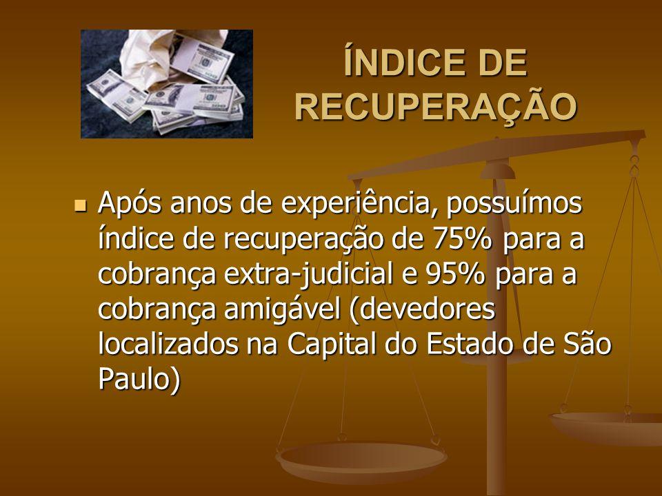 ÍNDICE DE RECUPERAÇÃO Após anos de experiência, possuímos índice de recuperação de 75% para a cobrança extra-judicial e 95% para a cobrança amigável (